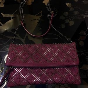 Handbags - Maroon studded crossbody